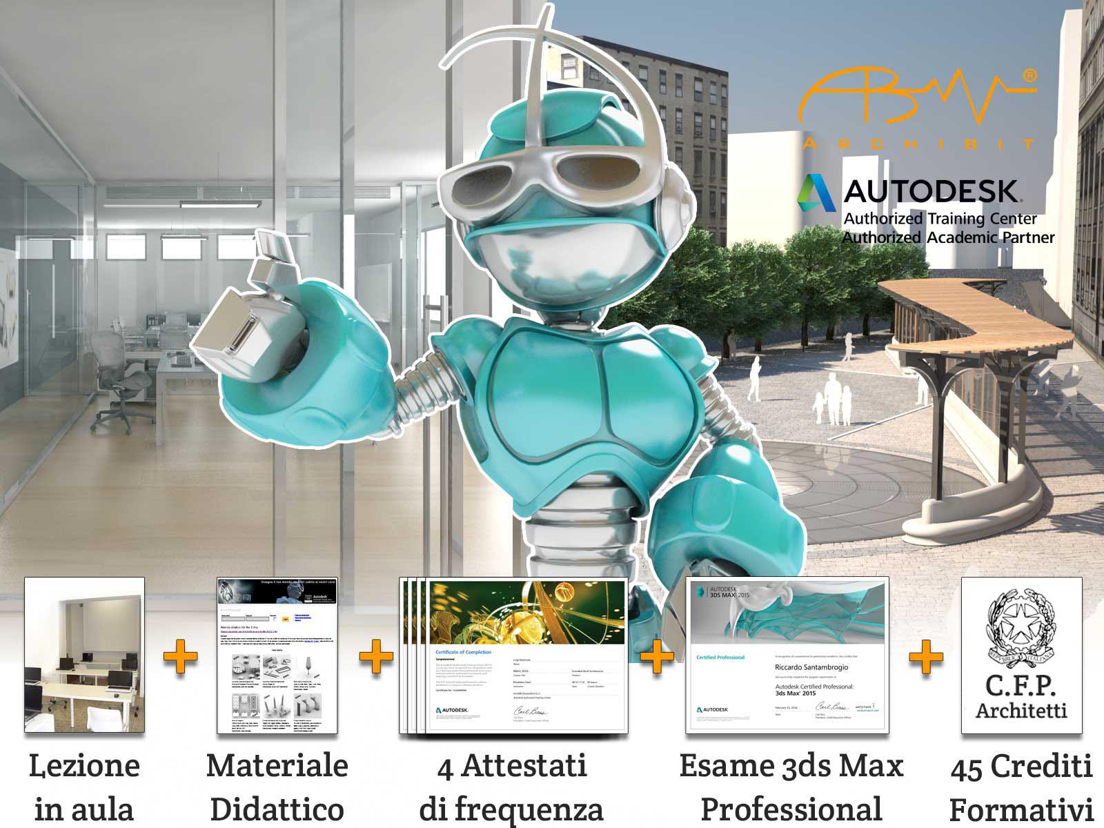 corso 3ds max autodesk mini master certificato professional archibit centro corsi roma