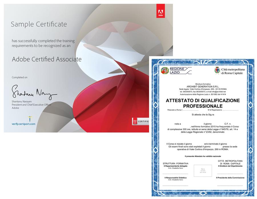 corso disegnatore cad attestato qualifica professionale tecnico edile regione lazio certificato esame adobe aca archibit generation roma