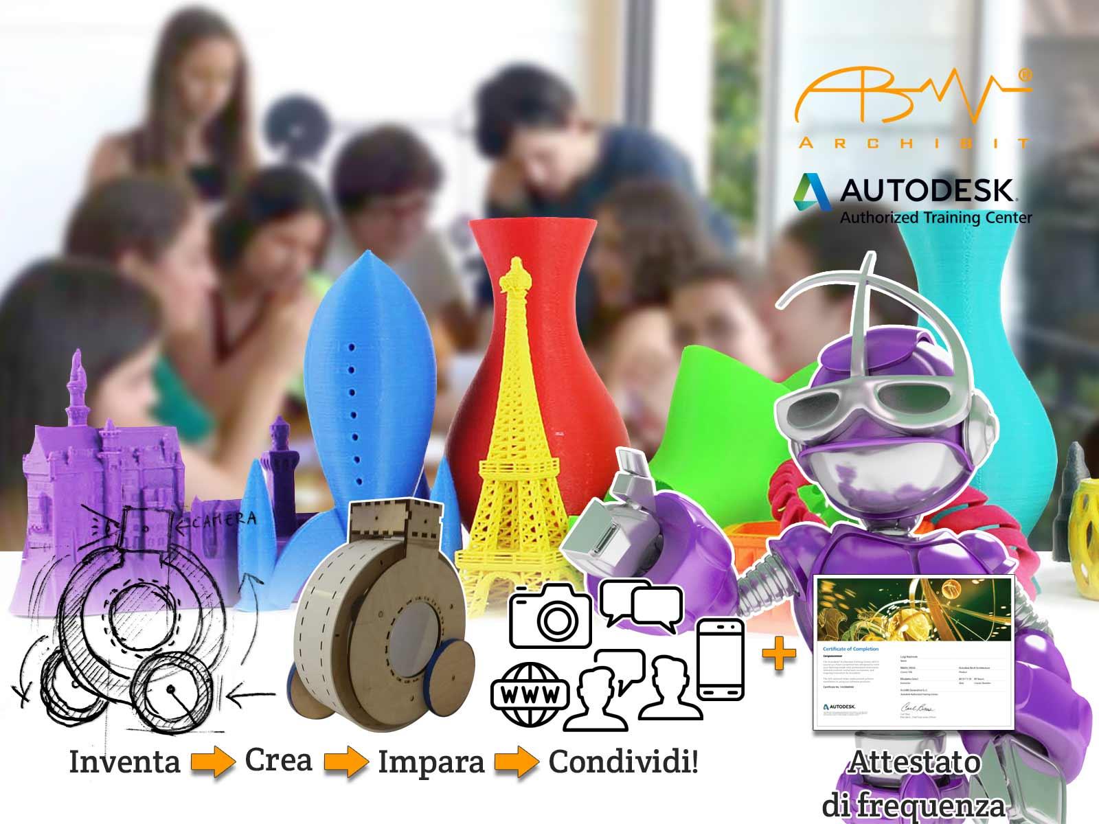 summer camp hi tech stampa 3d e maker per ragazzi e ragazze - archibit centro corsi grafica summercamp roma nord