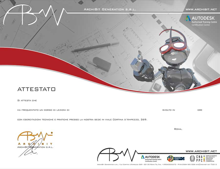 Attestato di frequenza Archibit Generation Adobe Photoshop - Centro corsi grafica adobe roma