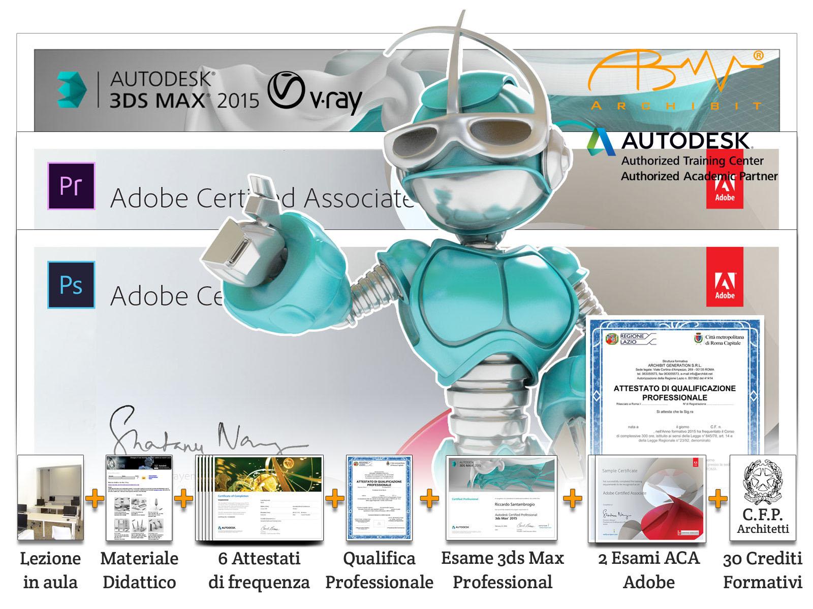 corso modellatore animatore 3d qualifica professionale grafico multimediale regione lazio certificazioni adobe ACA photoshop premiere autodesk professional 3ds max archibit corsi roma
